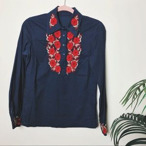 Vintage One of a Kind Embroidered Blouse Sz S